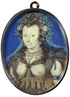 Lady dressed as Flora by Isaac Oliver, early 17th century.