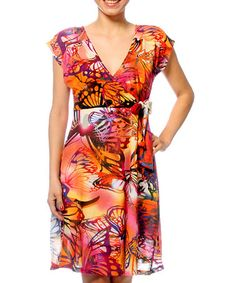 Take a look at this Smash: Orange Butterfly V-Neck Dress by Smash on #zulily today!
