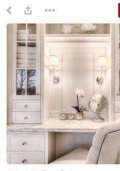 veranda interiors: Our Home {Master Bathroom} Beautiful Bathrooms, Modern Bathroom, Master Bathrooms, Luxury Bathroom Vanities, Luxurious Bathrooms, Makeup Vanities, Bathroom Vintage, Bathroom With Makeup Vanity, Pink Vanity