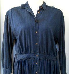 LRG Eddie Bauer Womens Blue Jean Long Dress Button Front 2 Pockets Elastic Waist | eBay