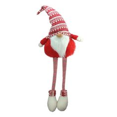 Northlight 37 Red and White Portly Hanging Leg Gnome Decoration with Christmas Snow Cap and Red Sweater Christmas Tabletop, Ceramic Christmas Trees, Christmas Table Decorations, Christmas Themes, Christmas Ornaments, Christmas Crafts, Christmas Gnome, Christmas Goodies, Christmas Holiday