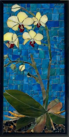 Stained Glass Mosaic Wall Art Framed Yellow Orchids I On - Stained Glass Church, Stained Glass Art, Mosaic Glass, Mosaic Artwork, Mosaic Wall Art, Mosaic Mirrors, Wall Mirror, Mosaic Crafts, Mosaic Projects