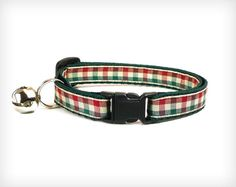 "Holiday Cat Collar - ""Pining For Woods"" - Red, Green & Ivory Gingham"
