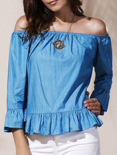 Graceful Off-The-Shoulder Long Sleeve Ruffled Blue Blouse For Women Cute Blouses, Blouses For Women, Peplum Blouse, Ruffle Blouse, Work Blouse, Trendy Clothes For Women, Denim Outfit, Sammy Dress, Types Of Sleeves
