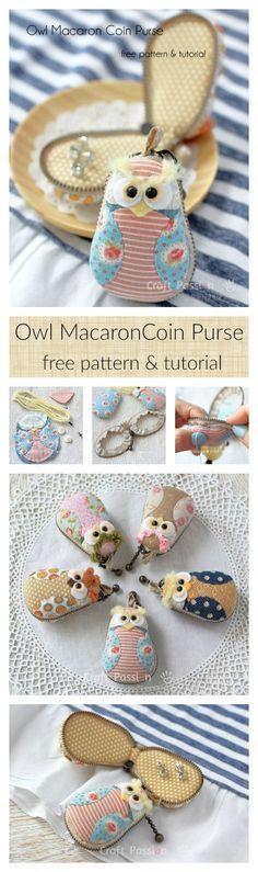 Owl Macaron Coin Purse Tutorial