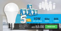 5PC PACK - #VTAC 10W A60 #THERMAL #PLASTIC #BULB - 60W Equal - 806 Lumens - E27 Base
