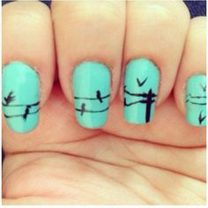 Telephone line nails by hellogiggles