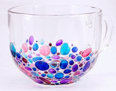 Bubbles Coffee Mug Sun catcher Hand painted Multi by ArtMasha