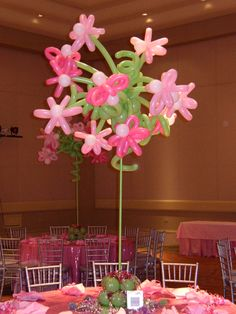 topiary of latex balloon flowers