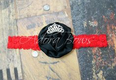 simple black silk rosette w pearl by AdoraBowsByLeilaHale on Etsy, $6.50