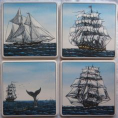 Barlow ArtStone Coasters Absorbent Design Nautical Ship