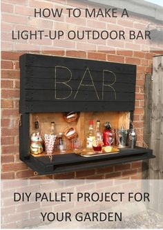 How to make an illuminated drop-down outdoor bar from palletsYou can find Pallet bar and more on our website.How to make an illuminated drop-down outdoor bar from pallets Palet Bar, Wooden Pallet Bar, Outdoor Pallet Bar, Outdoor Bars, Pallet Patio, Diy Pallet Bar, Pallet Garden Furniture, Bar Furniture, Outdoor Furniture