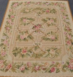 8'x10' Floral Cabbage Roses Hand-woven Wool French Aubusson Flat Weave Rug~New