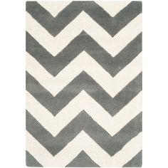 Safavieh Handmade Moroccan Chatham Dark Grey/ Ivory Wool Rug (2' 3 x 5') (CHT715D-25) (Cotton, Geometric)