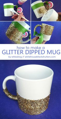 Love This Diy Glitter Dipped Coffee Mug! It's Easy To Make And Dishwasher Safe Too - Click for More...