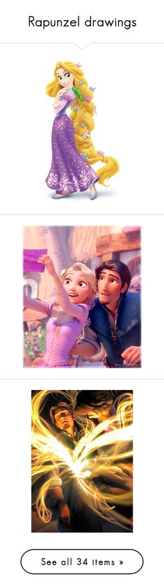 """""""Rapunzel drawings"""" by sim2004 ❤ liked on Polyvore featuring disney, tangled, characters, fillers, rapunzel, backgrounds, princess, icons, pictures and toys"""