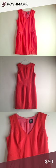 Beautiful Vince Camuto Dress EUC Beautiful dress with some deodorant stains. Stains shown in third and fourth picture would probably come out after a good dry clean. Beautiful color- reddish orangey EUC Vince Camuto Dresses Midi