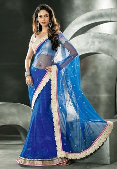 Blue Net Lehenga Style Saree with Blouse Lehanga Saree, Lehenga Style Saree, Net Lehenga, Indian Dresses, Indian Outfits, Indian Clothes, Beautiful Saree, Beautiful Dresses, Bollywood Designer Sarees