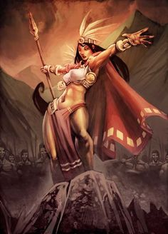 Mama Cora Occla, mother and fertility goddess. She taught the Inca women the art of spinning thread