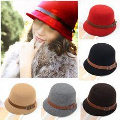 Fashion Vintage Women Ladies Fedora Dome Felt Hat Headwear Bucket Hathttp://bit.ly/19Rt7K7