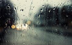 Ulica, Światła, Za, Szybą, Deszcz