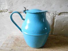 French vintage enamel pitcher blue enamel pot with lid water