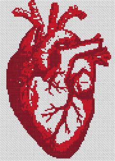 Cross Stitch Pattern Heart Beat Modern Cross by FredSpools, $5.00