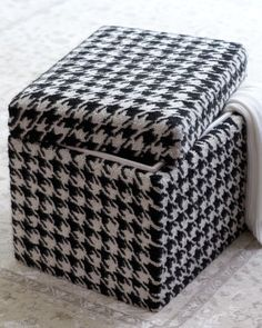 Houndstooth storage cube. I need this fabric to recover my cube in our Alabama room!