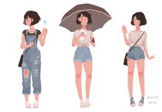 My recent outfits look good together ☔️ illustration character Character Drawing, Character Illustration, Pretty Art, Cute Art, Punziella, Arte Fashion, Animation, Character Design References, Character Design Inspiration