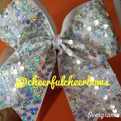 Silver Sequin Sparkle Bow on Etsy, $10.00