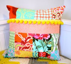 Patchwork cushion patchwork pillow neon cushion neon pillow yellow pom pom pompom decorative pillows throw pillow shabby chic fluoro bright. $39.95, via Etsy. .  materiales patchwork