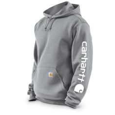 Carhartt Men's Midweight Hooded Sleeve Logo Sweatshirt, Slight Irregulars, Heather Gray