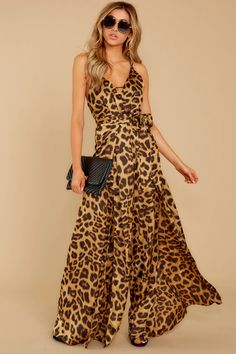 Sexy Brown Jumpsuit - Animal Print Split Racerback Jumpsuit - $54.00 – Red Dress
