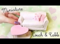 Cute Miniature Couch & Table Tutorial // Dolls/Dollhouse - YouTube