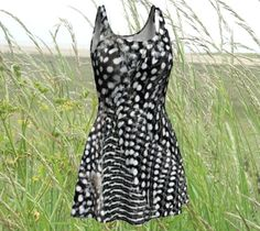 flared dress black and white dress Summer Dress Skater Dress* graphic print bird print monochrome * fashion made to order all sizes xs s m l by RedThanet on Etsy