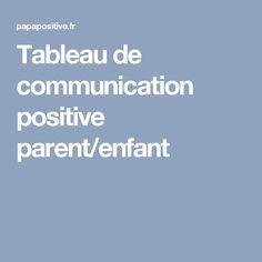 Tableau de communication positive parent/enfant