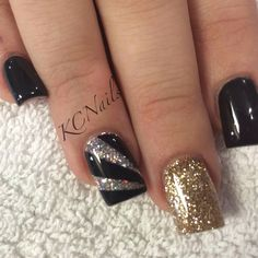 Black, Gold, & Silver solid acrylic nails. Hand painted black pattern. KCNails