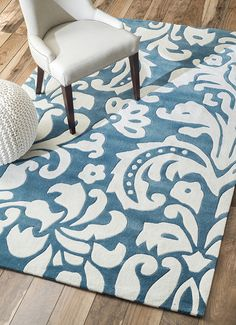 Rugs USA Keno Modern Damask Blue Rug. Rugs USA Labor Day Sale up to 80% Off! Area rug, rug, carpet, design, style, home decor, interior design, pattern, trends, home, statement, fall, cozy, sale, discount, interiors, house, free shipping, blue.