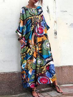 Women'S Printed Sundress Summer Striped Maxi Dress Kaftan Batwing Sleeve Long Vestidos Fashion Woman Tunic Robe Plus Size Dress Outfits, Casual Dresses, Loose Dresses, Dress Shoes, Dresses Dresses, Dance Dresses, Plus Size Maxi Dresses, Swing Dress, Dresses Online