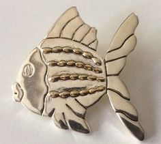 "Vtg 2 Tone Silver Gold Tone Angel Fish Pin Brooch Pendant Signed Best 2"" x 2"" 