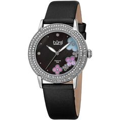 brgi Womens Flower Dial Black Leather Strap Watch (655 AUD) ❤ liked on Polyvore featuring jewelry, watches, burgi watches, leather wrist watch, flower jewelry, flower jewellery and water resistant watches
