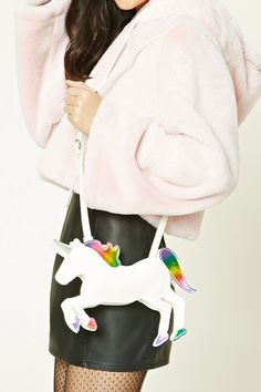A structured sheeny faux leather bag featuring a top zip, a shoulder strap, and a unicorn shape with a metallic horn design and a rainbow color mane.