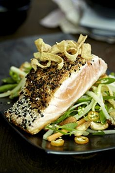 Sesame crusted salmon with Asian salad recipe on www.nomu.co.za