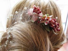 Pure silk cocoon flower and pearl Wedding Combs  hair by ADbrdal, $32.00