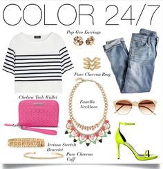 Bright and Bold colors are in! Add some Color 24/7 to your day to night look.