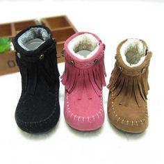 Toddler Fringe Boot Bootie, Black Pink or Camel. $29.99