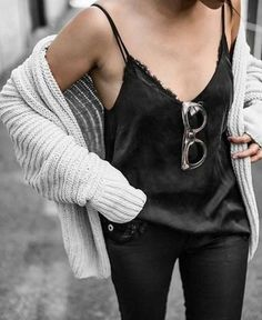 Rock 'n' Roll Style ✯ lace cami + chunky knit Beige Renegade http://fancytemplestore.com