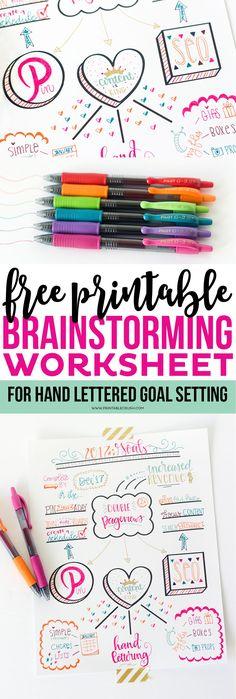 FREE Printable Hand Lettered Goal Setting Worksheet! Printable Crush