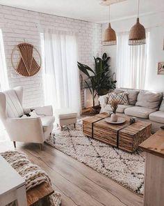 Boho Living Room, Cozy Living Rooms, Living Room Modern, Apartment Living, Home And Living, Living Room Designs, Scandinavian Living Rooms, Bohemian Living, Beach Apartment Decor