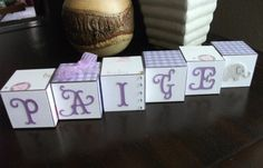 elephant themed girl name block set